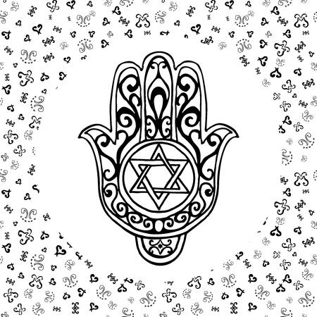 Hand drawn sketch of traditional Jewish religious symbols, hand of Miriam, palm of David, star of David, Rosh Hashanah, Hanukkah, Shana Tova, vector illustration on ornamental pattern. Illustration