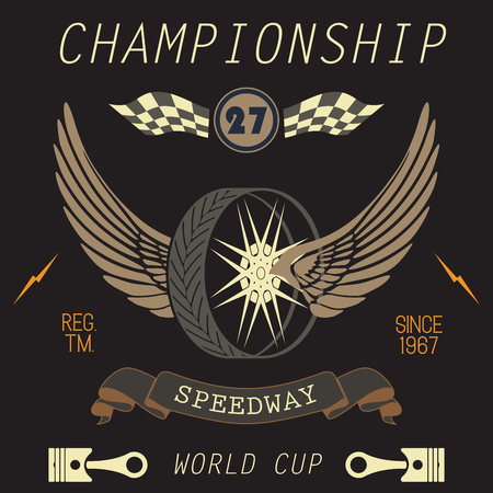 speedway: T-shirt Printing design, typography graphics, Speedway championship word cup series vector illustration Badge Applique Label. Illustration