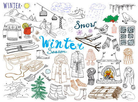 winter clothing: Winter season set doodles elements. Hand drawn set with glass hot wine, boots, clothes, fireplace, mountains, ski and sladge, warm blanket, socks and hats, and lettering words. Drawing set,  isolated.