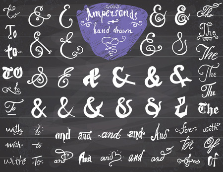 hand lettered: Ampersands and Catchwords hand drawn set for   and Label Designs. Vintage Style Hand Lettered symbols collection on chalkboard background