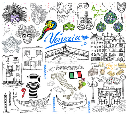 vestidos antiguos: Venecia Italia esbozar elementos. Conjunto drenado mano con la bandera, mapa, clouth góndolas gondolero, casas, pizza, dulces tradicionales, máscaras venecianas de carnaval, puente mercado. Aislado Dibujo colección garabato.