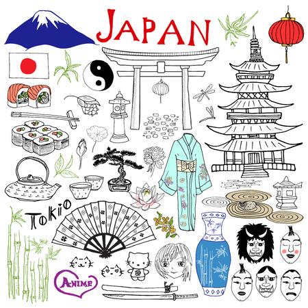 bandera japon: Japón doodles elementos. Conjunto drenado mano con la montaña Fujiyama, puerta sintoísta, sushi comida japonesa y juego de té, ventilador, máscaras del teatro, katana, pagoda, kimono. Dibujo colección garabato, aislado en blanco Vectores