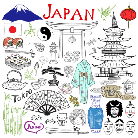 tokyo japan: Japan doodles elements. Hand drawn set with Fujiyama mountain, Shinto gate, Japanese food sushi and tea set, fan, theater masks, katana, pagoda, kimono. Drawing doodle collection, isolated on white