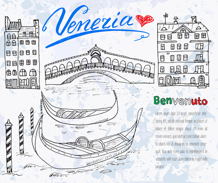 bridge hand: Venice Italy sketch elements. Hand drawn set with flag, map, gondolas, houses, market bridge. Lettering Venice, welcome in Italian. Drawing doodle collection and sampe text, isolated. Illustration