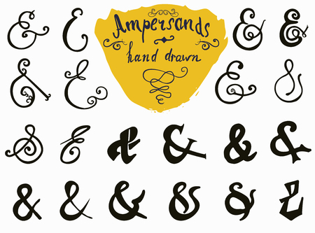 hand lettered: Ampersands and Catchwords hand drawn set for   and Label Designs. Vintage Style Hand Lettered symbols collection isolated on white background.