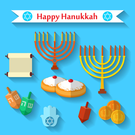 Happy Hanukkah flat vector icons set with dreidel game, coins, hand of Miriam, palm of David, star of David, menorah, traditional food, torah and other traditional items. Illustration