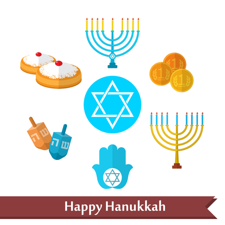 Happy Hanukkah flat vector icons set with dreidel game, coins, hand of Miriam, palm of David, star of David, menorah, traditional food, torah and other traditional items. Ilustracja