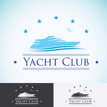 yacht: Yacht club,   design template. sea cruise, tropical island or vacation   icon.