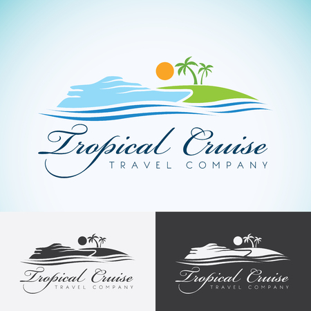 cruise: Yacht, Palm trees and sun, travel company   design template. sea cruise, tropical island or vacation   icon. Illustration