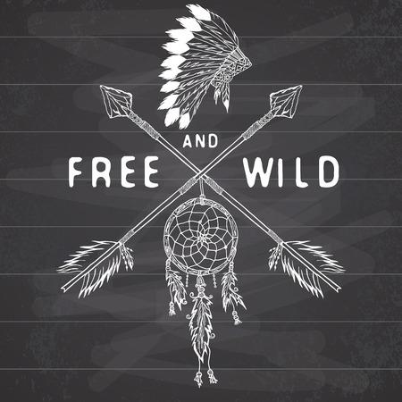 atrapasueños: Colector ideal y flechas cruzadas, leyenda tribal en estilo indio con headgeer tradicional. Dreamcatcher con plumas y cuentas de aves. Vector ilustración de la vendimia, Letras Libres y salvajes