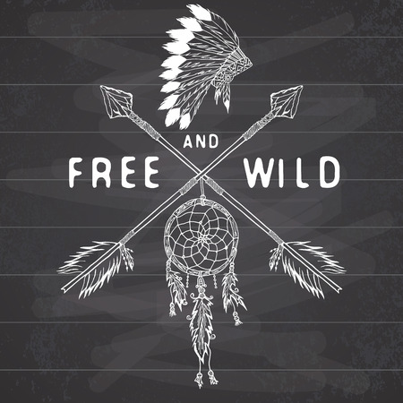 Dream catcher and crossed arrows, tribal legend in Indian style with traditional headgeer. dreamcatcher with bird feathers and beads. Vector vintage illustration, Letters Free and Wild