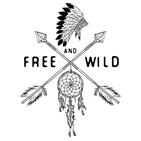 Dream catcher and crossed arrows, tribal legend in Indian style with traditional headgeer. dreamcatcher with bird feathers and beads. Vector vintage illustration, Letters Free and Wild. isolated.