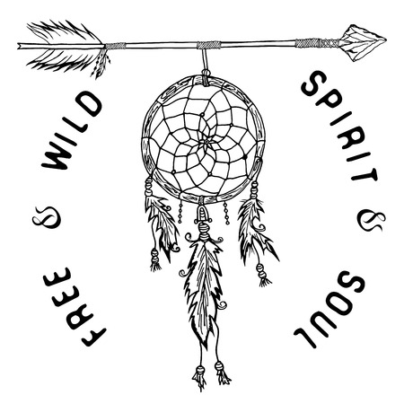 cherokee: Dream catcher and arrow, tribal legend in Indian style with traditional headgeer. dreamcatcher with bird feathers and beads. Vector illustration, letters Free and Wild spirit and soul. isolated. Illustration