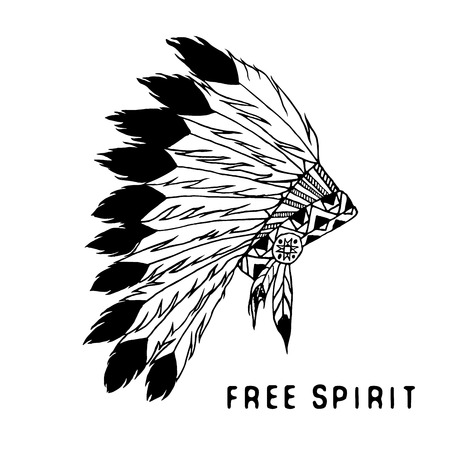 chief: Tribal legend in Indian style, Native american traditional headgeer with bird feathers and beads. Vector illustration, letters Free and Wild spirit and soul. isolated Illustration