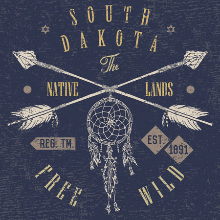 T-shirt Printing design, typography graphics, Free and wild the native lands vector illustration with dreamcatcher crossed arrows hand drawn sketch. Vintage retro style Badge Applique Label.