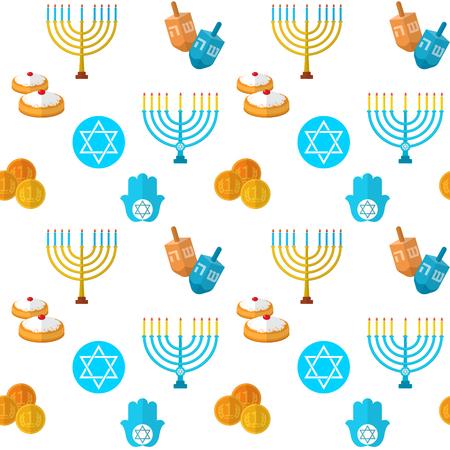 estrella de david: patrón de vectores sin fisuras Feliz Hanukkah, con el juego dreidel, monedas, mano de Miriam, palma de David, la estrella de David, menorah, comida tradicional, Tora y otros artículos tradicionales.