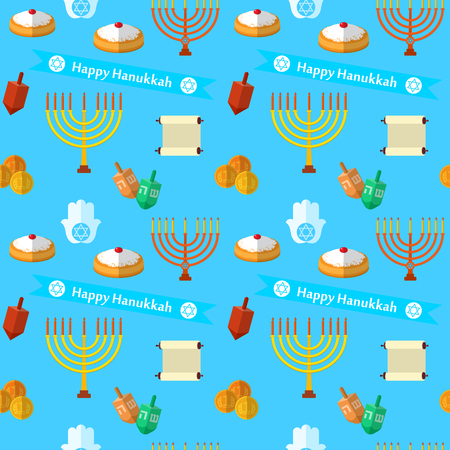Happy Hanukkah vector seamless pattern, with dreidel game, coins, hand of Miriam, palm of David, star of David, menorah, traditional food, torah and other traditional items.