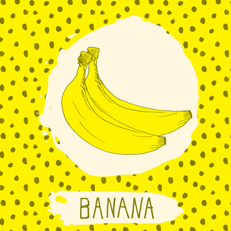 banana leaf: Banana hand drawn sketched fruit with leaf on background with dots pattern. Doodle vector banana for logo, label, brand identity.