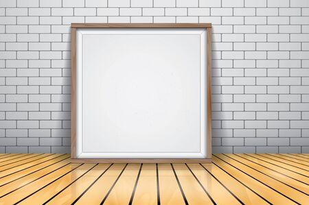Mock up for presentation framed signboard standing on glossy wooden floor, Whiteboard wood frame. Illustration