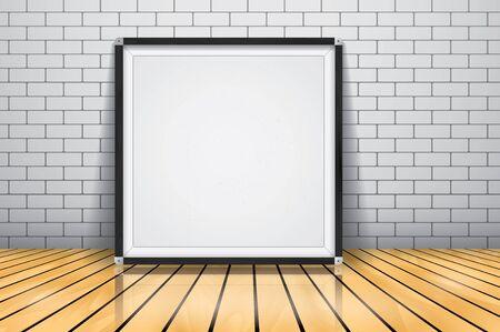 wood frame: Mock up for presentation framed signboard standing on glossy wooden floor, Whiteboard wood frame. Illustration
