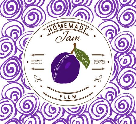 Jam etiqueta plantilla de diseño. de ciruela producto de postre con frutas y fondo esbozada dibujado a mano. identidad ilustración vectorial de ciruela marca Doodle.