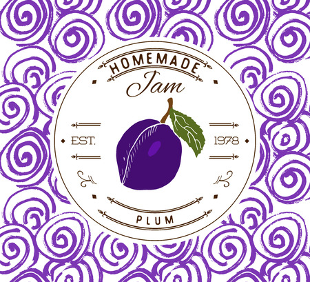 Jam label design template. for plum dessert product with hand drawn sketched fruit and background. Doodle vector plum illustration brand identity.