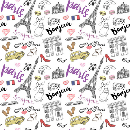 Paris seamless pattern with Hand drawn sketch elements - eiffel tower triumf arch, fashion items. Drawing doodle vector illustration, isolated on white. Stock Illustratie