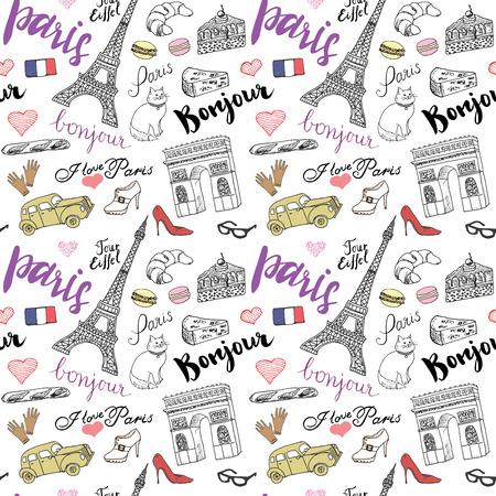 Modelo inconsútil de París con elementos de croquis dibujados a mano - Eiffel arco de la torre de Triumf, artículos de moda. Gráfico de la ilustración vectorial dibujo, aislado en blanco.