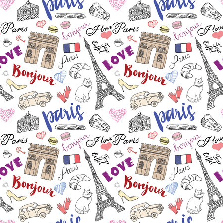 Paris seamless pattern with Hand drawn sketch elements - eiffel tower triumf arch, fashion items. Drawing doodle vector illustration, isolated on white. Ilustracja