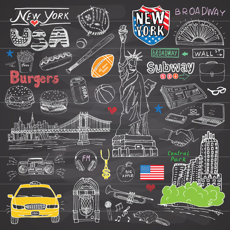 New York city doodles elements collection. Hand drawn set with, taxi, coffee, hotdog, burger, statue of liberty, broadway, music, coffee, newspaper, manhattan bridge, central park, on chalkboard.