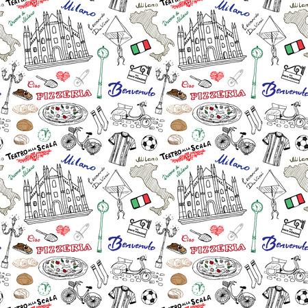 Milaan Italië naadloos patroon met hand getrokken schets elementen Duomo, vlag, pizza, transport en traditionele gerechten. Tekening doodle vector illustratie, geïsoleerd op wit.