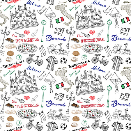 Milan Italy seamless pattern with Hand drawn sketch elements Duomo cathedral, flag, map, pizza, transport and traditional food. Drawing doodle vector illustration, isolated on white . Ilustracja