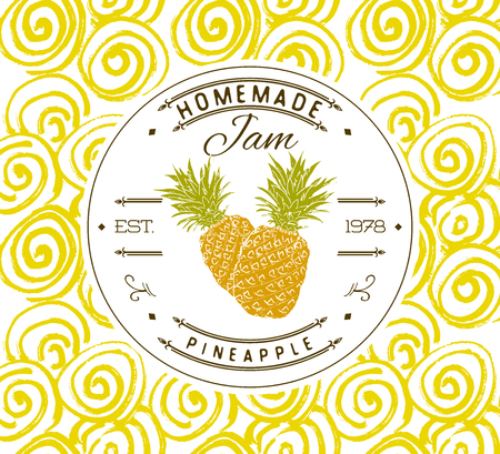 ananas: Jam label design template. for pineapple dessert product with hand drawn sketched fruit and background. Doodle vector pineapple illustration brand identity.