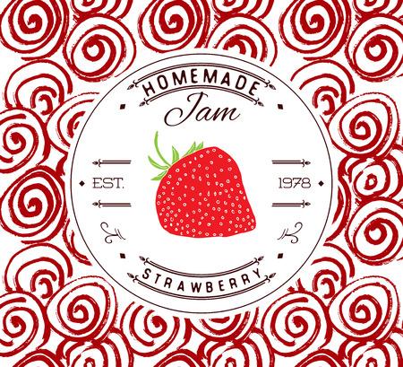 fresa: Jam etiqueta plantilla de diseño. para el producto de postre fresa con la fruta y el fondo de boceto dibujado a mano. identidad ilustración vectorial dibujo de marca de fresa. Vectores