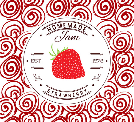 strawberries: Jam label design template. for strawberry dessert product with hand drawn sketched fruit and background. Doodle vector strawberry illustration brand identity.