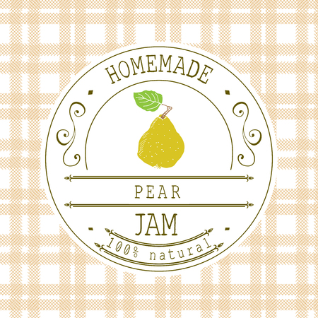 jam label design template for pear dessert product with hand
