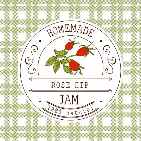 Jam-Label-Design-Vorlage. für Rose hip Dessertprodukt mit Hand gezeichneten skizzierten Obst und Hintergrund. Doodle Vektor Hagebutten Darstellung Markenidentität.