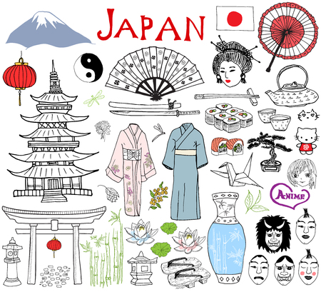 Japan doodles elements. Hand drawn sketch set with Fujiyama mountain, Shinto gate, Japanese food sushi and tea set, fan, theater masks, katana, pagoda, kimono. Drawing collection, isolated on white. Illustration