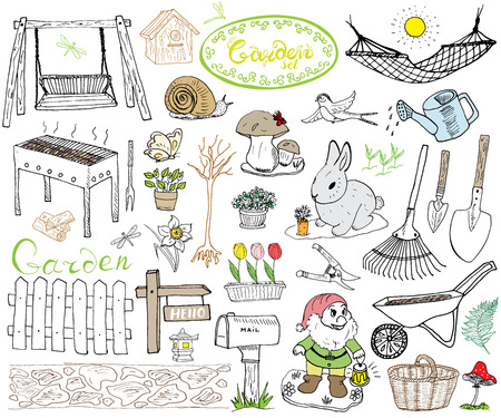 garden landscape: Garden set doodles elements. Hand drawn sketch with gardening tools, flovers and plants, garden figures, gnome mushrooms, rabbit, nest and birds, backyard swing. Drawing doodle, isolated on white.