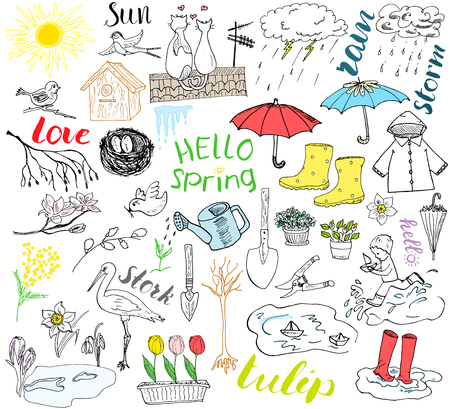 raincoat: Spring season set doodles elements. Hand drawn sketch set with umbrella, rain, rubber boots, raincoat, flovers, garden tools, nest and birds. Drawing doodle collection, isolated on white background. Illustration
