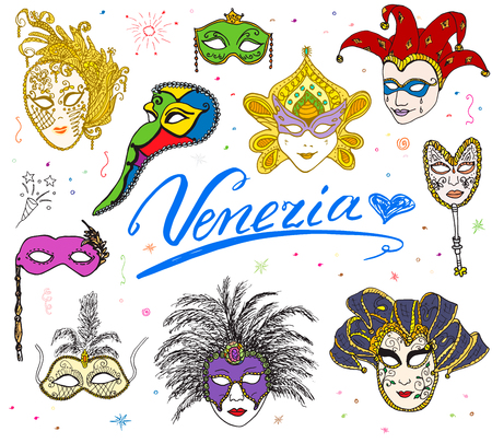 venice italy: Venice Italy sketch carnival venetian masks Hand drawn set. Drawing doodle collection isolated. Illustration