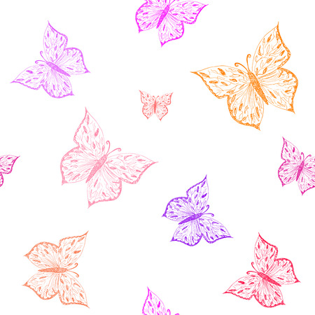 butterfly isolated: Butterfly seamless pattern. Ornamental hand drawn sketched colorful  vector illustration, isolated on white background. Illustration