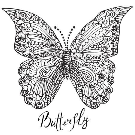 Dekorative Hand gezeichnete Skizze des Schmetterlinges im zentangle Stil. Vektor-Illustration mit Ornament, isoliert.