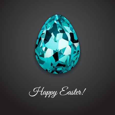 topaz: Happy Easter greeting card design with creative crystal easter egg on dark background and sign Happy Easter, vector illustration.