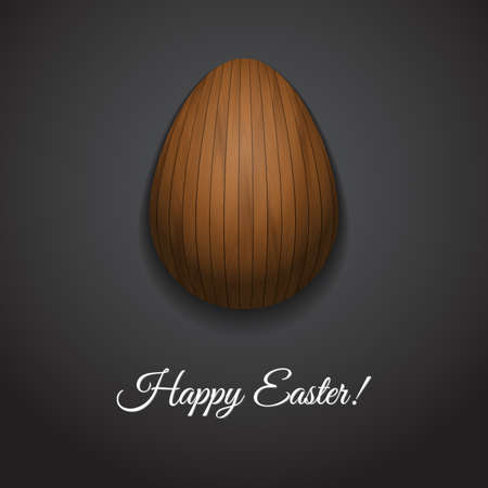 varnished: Happy Easter greeting card design with creative wooden easter egg on dark background and sign Happy Easter, vector illustration.