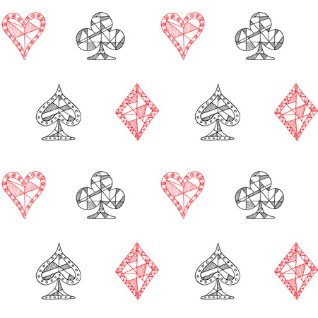 club: Hand drawn sketched Playing cards symbol seamless pattern, poker, blackjack background, doodle hearts diamonds spades and clubs symbols..