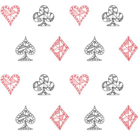 blackjack: Hand drawn sketched Playing cards symbol seamless pattern, poker, blackjack background, doodle hearts diamonds spades and clubs symbols..
