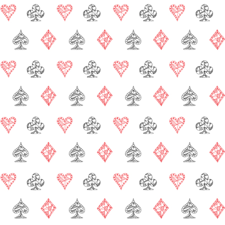 clubs diamonds: Hand drawn sketched Playing cards symbol seamless pattern, poker, blackjack background, doodle hearts diamonds spades and clubs symbols.