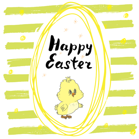 egg shape: Happy Easter hand drawn greeting card with lettering and sketched doodle elements cute chicken in easter egg shape on color background.
