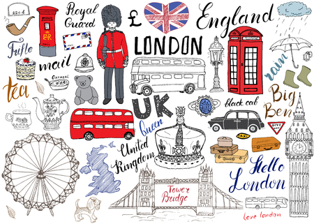 royal mail: London city doodles elements collection. Hand drawn set with, tower bridge, crown, big ben, royal guard, red bus and black cab, UK map and flag, tea pot, lettering, vector illustration isolated. Illustration